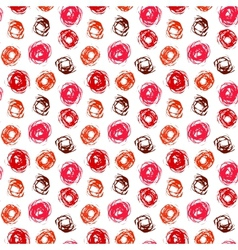 Pattern with brushed circles in coral red vector