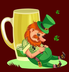 Saint patrick day leprechaun with mug of green vector
