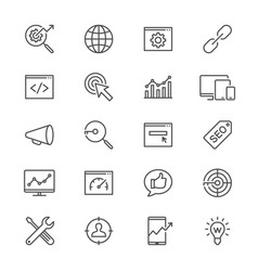 Search engine optimization thin icons vector