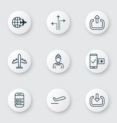 Set of 9 traveling icons includes enter flight vector
