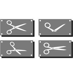 Set white scissors on gray plate vector