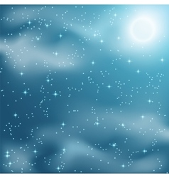 Stars and clouds on the night sky vector