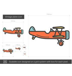 Vintage plane line icon vector