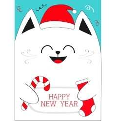 White cat holding happy new year text candy cane vector