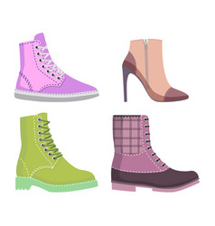 winter and autmn female shoes set of vector image vector image