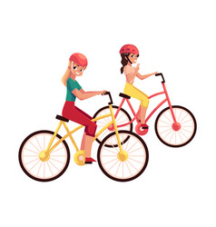 Young woman riding bicycle cycling together with vector