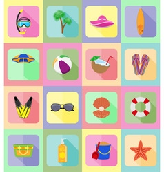 Objects for recreation a beach flat icons 20 vector