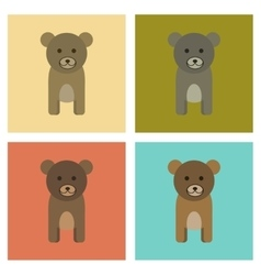 assembly flat icons nature cartoon bear vector image