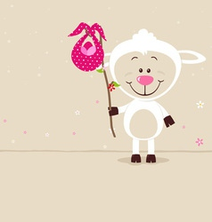 Lovely sheep with red bag vector image