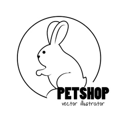 Bunny hand draw pet shop concept vector