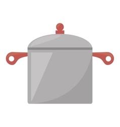 Steel pot kitchen and cooking utensils vector