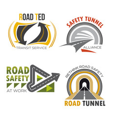 Road and highway isolated symbol set vector