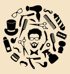 Set of barbershop icons with hipster face vector