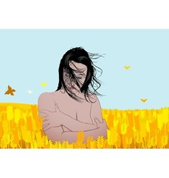 Nude girl in a field vector