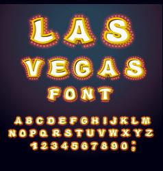 Las vegas font glowing lamp letters retro vector