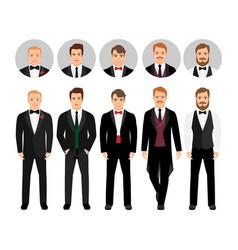 Fashion cartoon elegant business men set vector