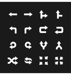 Arrows icons set on black vector image