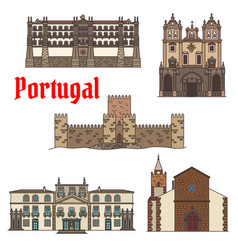 Travel sight of portuguese architecture icon set vector