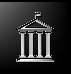 Historical building with flag  gray 3d vector
