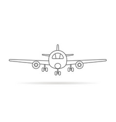 thin line airplane icon with shadow vector image