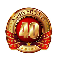 40 anniversary golden label with ribbon vector image