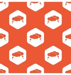 Orange hexagon thoughts pattern vector