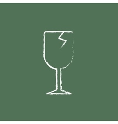 Cracked glass icon drawn in chalk vector