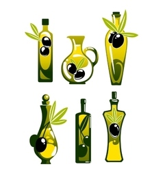 Olive oil in bottles and jug vector