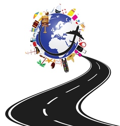 Road with planet earth and travel icon vector