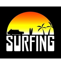 Silhouette of the surfers car vector