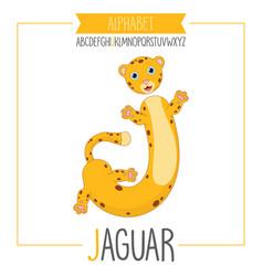 alphabet letter j and jaguar vector image
