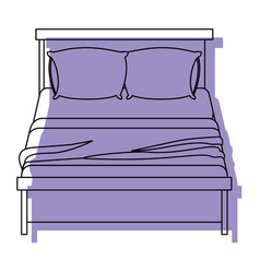 bed wooden with blanket and pair pillows purple vector image vector image