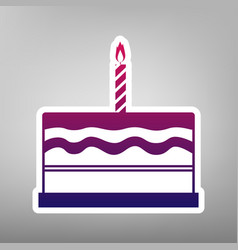Birthday cake sign purple gradient icon vector