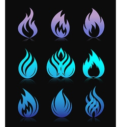 Blue design fire elements on black vector image vector image