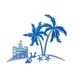 blue shading silhouette of island with sand castle vector image