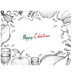 Christmas and new year dinner frame on white backg vector