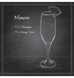 Cocktail alcohol mimosa on black board vector