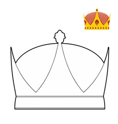 Coloring book Crown Royal Crown Hat for King vector image vector image
