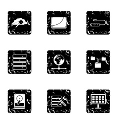 Computer data icons set grunge style vector