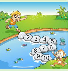 Counting number one to ten with boy and monkey vector