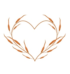 Dry leaves in a heart shape frame vector