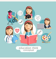 Education thinking conceptual Girl holding books vector image vector image
