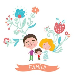 Family cute card with floral design vector image vector image