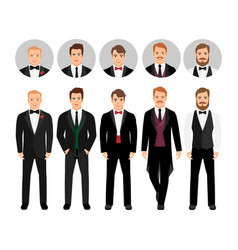 Fashion cartoon elegant business men set vector