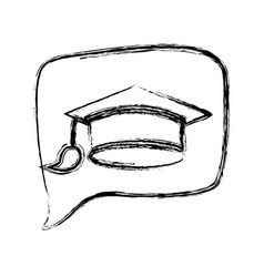figure square chat bubble with mortarboard inside vector image