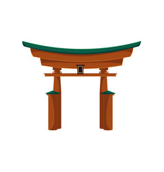 Flat japanese torii gate icon isolated vector