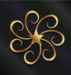 Gold Star swirls vector image vector image