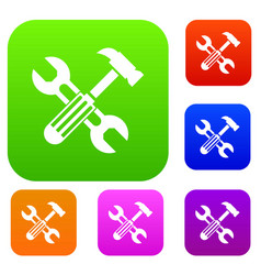 hammer and screw wrench set collection vector image vector image