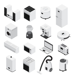 Isometrics home appliances icon set vector