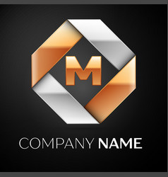 Letter m logo symbol in the colorful rhombus on vector